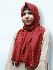 Cotton Mix Stole With Golden Dots In Maroon Image