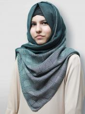 Cotton Mix Double Shade Check Stole In Green