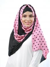 Cotton Mix And Polyster Lycra Double Shaded Stole With Polka Dots In Black And Pink