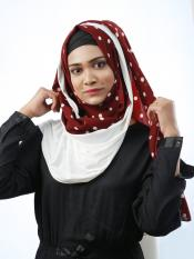 Cotton Mix And Polyster Lycra Double Shaded Stole With Polka Dots In White And Maroon