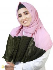 100% Polyster Stole With Two Side Frill In Puce Pink And Olive