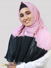 100% Polyster Stole With Two Side Frill In Pink And Charcoal