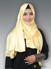 Satin Silk Plain Stole In Yellow