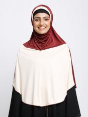 Zahra Instant Hijabs In Maroon And Cream