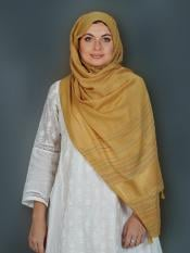 Premium Cotton Stole With Line Pattern And Tessel Work In Mustard
