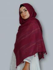 Premium Cotton Stole With Line Pattern And Tessel Work In Maroon