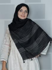 Premium Cotton Stole With Line Pattern And Tessel Work In Black