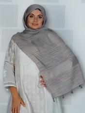 Premium Cotton Stole With Line Pattern And Tssel Image