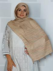Premium Cotton Stole With Line Pattern And Tasse Image