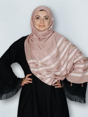 Premium Cotton Stole With Tessel Work In Dusty Rose