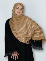Premium Cotton Stole With Tessel Work In Brown