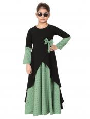 Nidamatte Polka Dotted Asymmetrical Dress For Kids In Green And Black