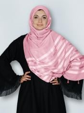 Premium Cotton Stole With Tessel Work In Baby Pink