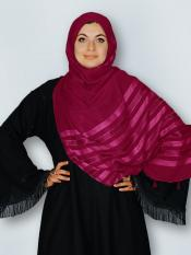 Premium Cotton Stole With Tessel Work In Maroon