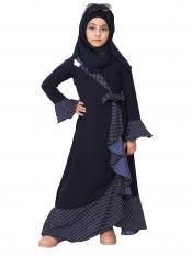 Nidamatte Designer Abaya With Polka Dotted Frills For Kids In Navy Blue