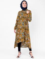 100% Rayon Floral High Low Midi In Mustard