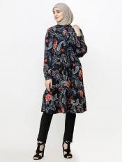 100% Rayon Midi Dress With Paisley Work And Balloon Sleeve In Black