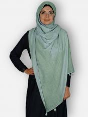 Premium Cotton Stoles With Tessel Work In Light green
