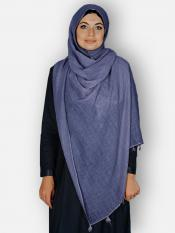Premium Cotton Stoles With Tessel Work In Blue
