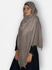 Premium Cotton Stoles With Tessel Work In Ash