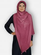 Premium Cotton Stoles With Tessel Work In Maroon