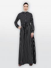 American Crepe Striped Abaya With Collar In Black And White
