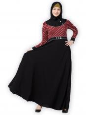 Nida Matte Designer Umbrella Abaya With Polka Dotted Design On Front And Sleeve In Black And Wine