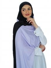 100 % Polyester Lycra Double Shade Stole In White And Black