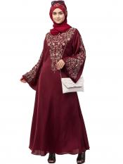 Premium Shine Nida Abaya With Neck And Sleeve Resham Embroidered In Maroon And Gold