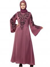 Premium Shine Nida Abaya With Neck And Sleeve Resham Embroidered In Mauve Pink And Black