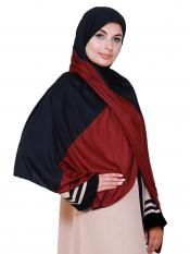 Lycra Double Shade Stole In Black And Maroon