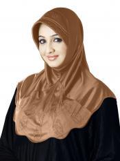 Meharban Lycra Instant Hijab In Dark Wheat
