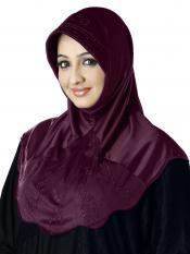 Meharban Lycra Instant Hijab In Wine