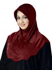 Meharban Lycra Instant Hijab In Dark Maroon
