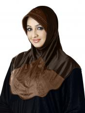 Meharban Lycra Double Shade Instant Hijab In Grey And Dark Wheat