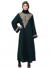 Nida Matte Abaya With Front And Sleeve Drop Embroidery In Green And Gold