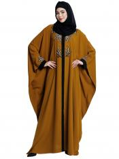 Nida Matte Front Open Kaftan With Embroidery Work In Mustard