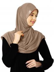 Zooni  Lycra Instant Hijab In Dark Wheat