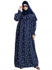 American Crepe Maxi Dress With Printed Work In Navy Blue