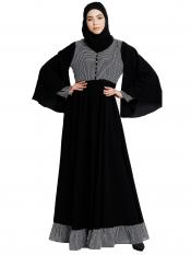 Nida Matte And Georgette Dual Colored Designer Abaya In Black And White