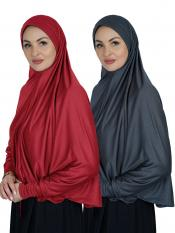 Combo Farashah Instant Hijabs With Sleeve In Red And Ash