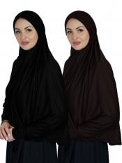 Combo Farashah Instant Hijabs With Sleeve In Black And Coffee