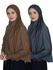 Combo Farashah Instant Hijabs With Sleeve In Dark Brown And Ash
