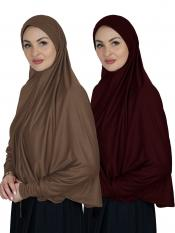 Combo Farashah Instant Hijabs With Sleeve In Dark Brown And Maroon