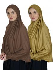 Combo Farashah Instant Hijabs With Sleeve In Dark Brown And Mustard