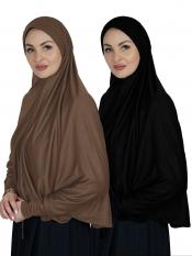 Combo Farashah Instant Hijabs With Sleeve In Dark Brown And Black