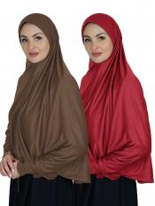 Combo Farashah Instant Hijabs With Sleeve In Dark Brown And Red
