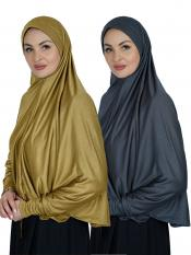 Combo Farashah Instant Hijabs With Sleeve In Mustard And Ash