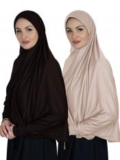 Combo Farashah Instant Hijabs With Sleeve In Coffee And Cream