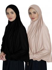 Combo Farashah Instant Hijabs With Sleeve In Black And Cream